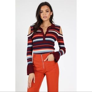 🆕Cold Shoulder Striped Bell Cuff Sweater